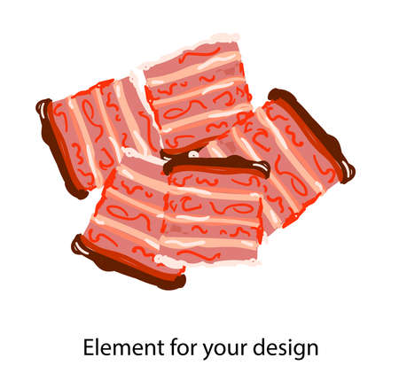 Sliced Bacon. A piece of meat. Ingredient for dishes. vector illustration on a white background. Element for your design.