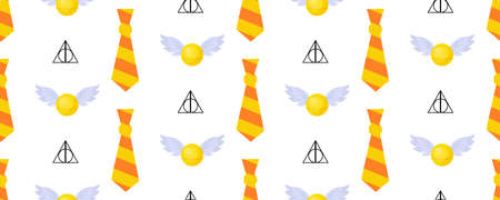 Seamless pattern. Childrens design. Gryffindorf characters. The tie is striped. Orange and yellow. Magic Snitch.. 版權商用圖片