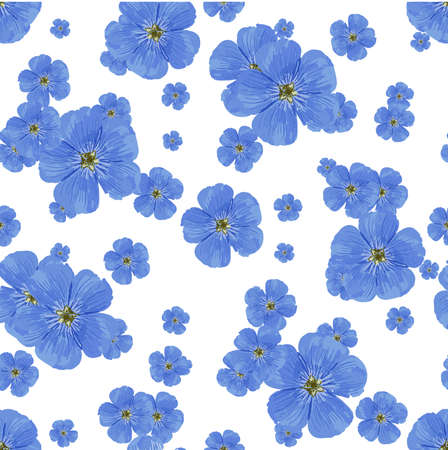 SEAMLESS FLOWER PATTERN. White background. Spring bright colors. blue. Perfect design for textile and wrapping paper. Flax flowers.