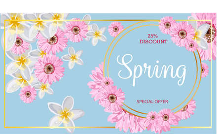 BIG SALE. Banner for advertising discounts and promotions. Spring discounts. Bright design. Flowers on a light background.