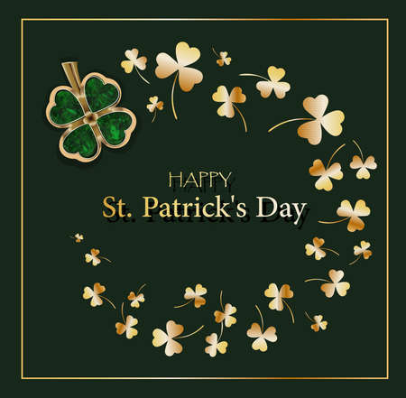 CLOVER SHEET on a green background. JEWELERY. Golden clover. Chic postcard for Saint Patricks Day