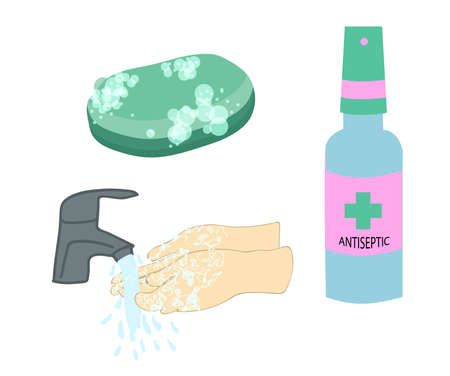 ANTISEPTIC, soap, washing hands, hands under water Isolated on a white background. Antiviral agent. Coronavirus protection. Hygiene. Illustration