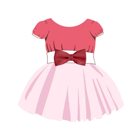 Fashionable dress pattern for little girls. Festive clothes for babies. Baby suit. Princess. Tulle skirt. Pink color. Vector illustration isolated on a white background.