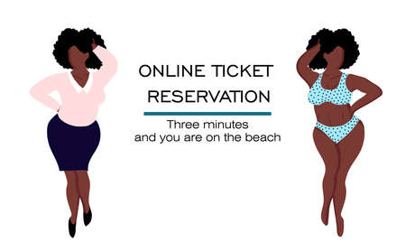 booking and buying tickets online. ONLINE SERVICE OF TOURIST SERVICES. Journey. black woman in a swimsuit