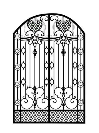 The gate forged. Metal grill. Artistic forging. Iron Vector illustration Vettoriali