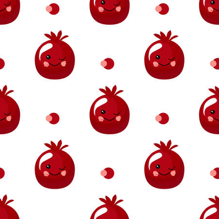pomegranate fruit. Exotic fruit. citrus character and seamless pattern. Vector illustration. Foto de archivo - 143334923