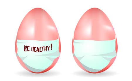 Realistic masked egg. Easter and coronavirus. Quarantine.COVID 19.HAPPY EASTER.Be healthy  Ilustracja