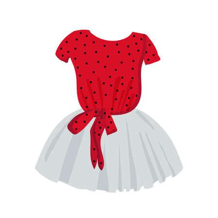 elegant dress for girls. Fashionable clothes for kids. Vector illustration on a white background. Tulle fluffy skirt. clipart