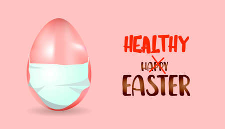 egg in a medical mask. Easter concept. Easter poster.