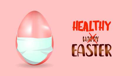 egg in a medical mask. Easter concept. Easter poster.