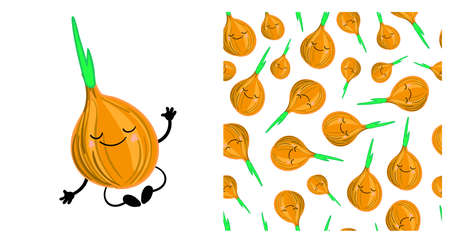 onion vegetable character cute. Seamless vegetable pattern with onions. Children's vector illustration. Ilustração