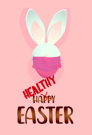 Easter banner or greeting card. Have a healthy and happy easter. Rabbits in a medical mask. vertical banner. Realistic vector illustration.