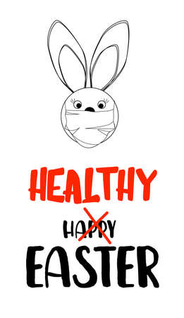 rabbit in a medical mask. Easter concept. Easter quarantine. Vectores