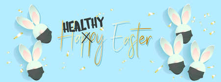 Funny rabbits. Easter bunny. Vector illustration on a background.