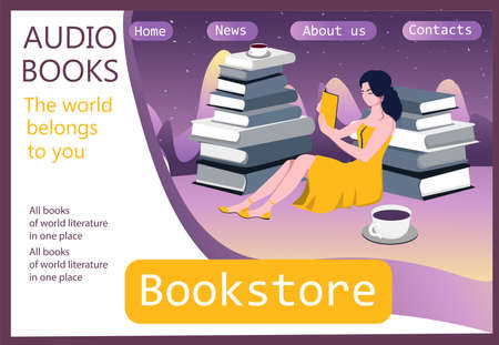 Girl sitting in a pile of books. Template for the site. Landing page. Audiobook concept. Books online.
