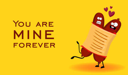 Funny hot dog. French hot dog. Cute fast food vector illustration.