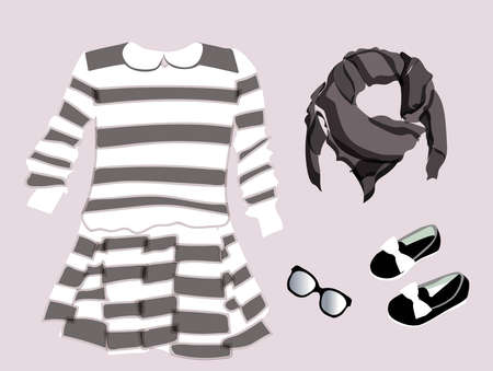 Fashionable modern look. Scarf, scarf, dress, gloves. Clothes for girls and dolls. Vector illustration isolated on a white background. Иллюстрация