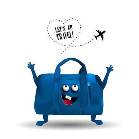 Let's go travel Flyer tourism concept. Character suitcase. Иллюстрация