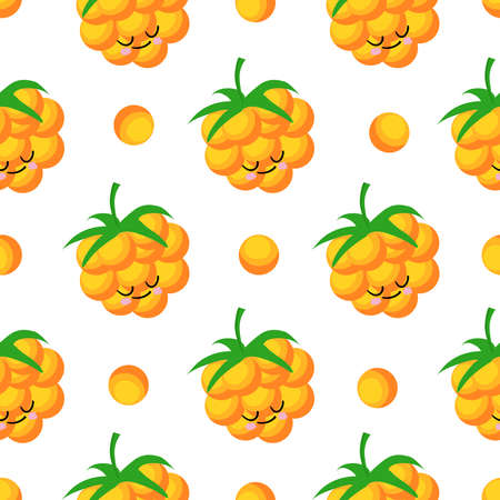 Cloudberry yellow berry. Berry character on a white background. Vector illustration. Seamless pattern for children's textiles and fabrics. Illustration