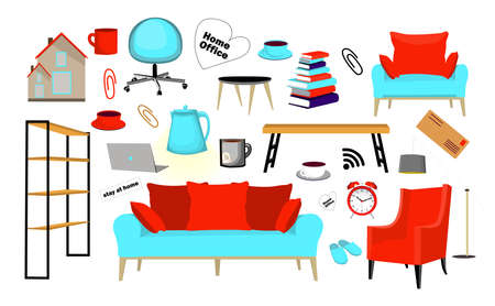 Stay home. Set of home and work elements. Home office stickers. ISOLATION AND QUARANTINE. Laptop, chair, slippers, cup. Vector illustration isolated on a white background.