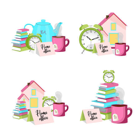 Vector illustration on the theme of remote work and home office. A stack of books and a cup of tea. Work from home. Freelance.