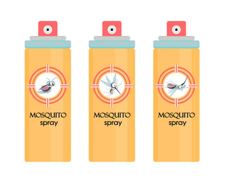 Insect mosquito and pest illustration for repellent oil. Mosquito spray.