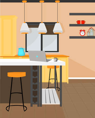 Vector illustration. ROOM. INTERIOR KITCHEN STUDIO. A cozy place to work.