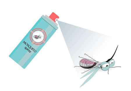 Spray kills the mosquito. Pest control. Means against parasites.Vector illustration Vektorgrafik