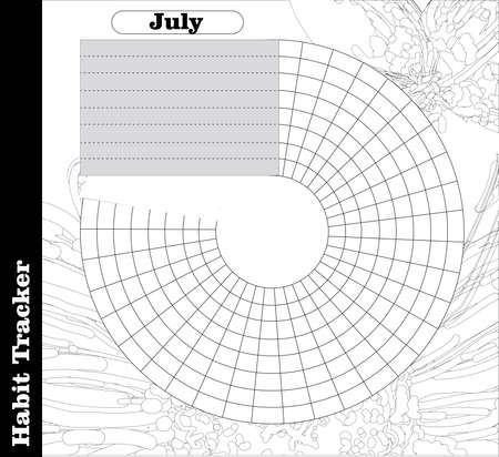 Habit tracker is empty. Bullet magazine template. Monthly planner. Vector illustration. Organizer for printing, diary, planner for important purposes.Bullet jurnal
