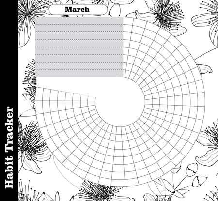 Le suivi des habitudes est vide. Modèle de magazine de balle. Planificateur mensuel. Illustration vectorielle. Organisateur pour impression, agenda, agenda à des fins importantes. Bullet jurnal Vecteurs