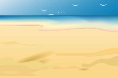 Vector beach illustration. Ocean and sand. Coast. Template for travel agency advertising. Illustration