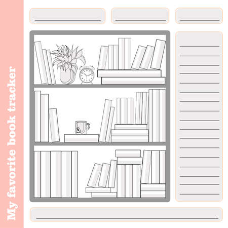 Monthly habit empty tracker template. reading. Familiar tracker. The books that are read. LIST OF LITERATURE. PAINTING.