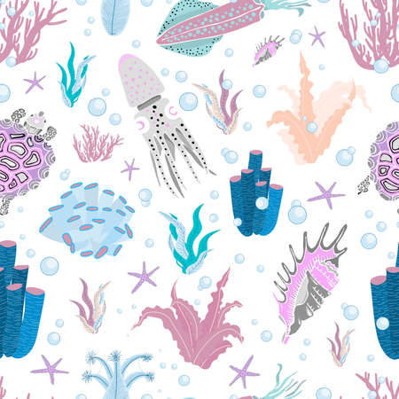 BRIGHT SUMMER MARINE PATTERN. fish and underwater inhabitants of PATTERN. Blue, pink. Trend colors. Vector seamless illustration. Octopus, squid, shells and seaweed.
