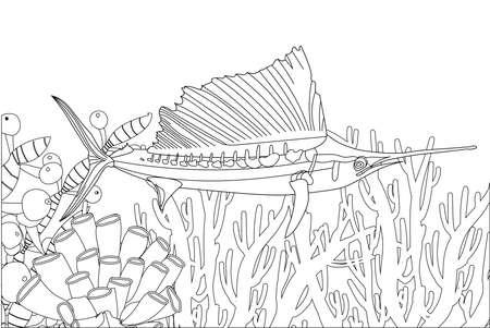 Fish exotic coloring. Antistress coloring page. Sea creatures. Ocean fish. Vector illustration.