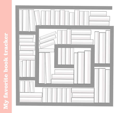 Tracker reading books. Book tracker. Template for organization. Vector illustration. Shelf with books. Vecteurs
