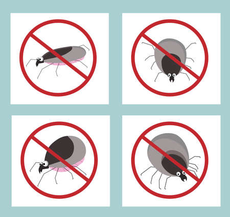 Tick parasite. Blood sucking insect. STOP MIT. Sign against insects. Insecticide