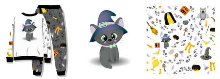 ready-made set for fashion design. Set pattern and illustration. School of magic, potter, wizarding world. Black cat and a talking hat. Pajamas design.