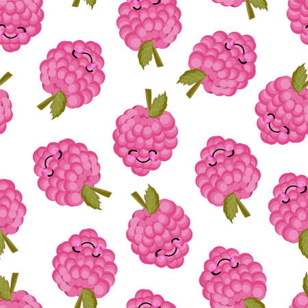 Raspberry character. Cute funny berry. Berry seamless vector pattern. Bright colors.. Ilustrace