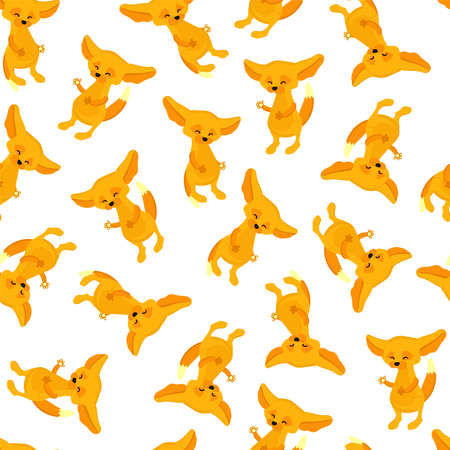 fox with big ears. animals pattern seamless vector illustration. textile design.. Illustration