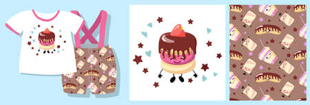 cake character. Sweets pattern seamless b. vector illustration. textile design.