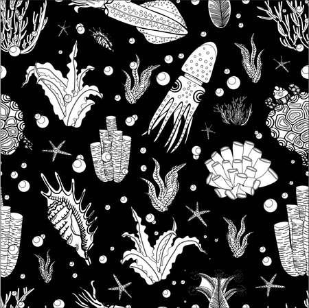 Algae oceanic pattern. Floral summer pattern. Summer design. BLACK BACKGROUND Ilustrace