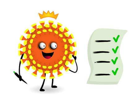 Cowid virus 19 Vector illustration. Danger Virus character funny. Ilustrace