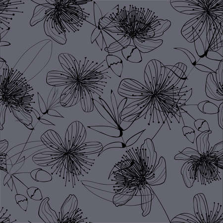 Elegance BLACK flowers on a gray background. The flowers are tender pattern. LACE