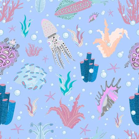 Algae oceanic pattern. Floral summer pattern. Summer design. BLUE LIGHT BACKGROUND. Ilustrace