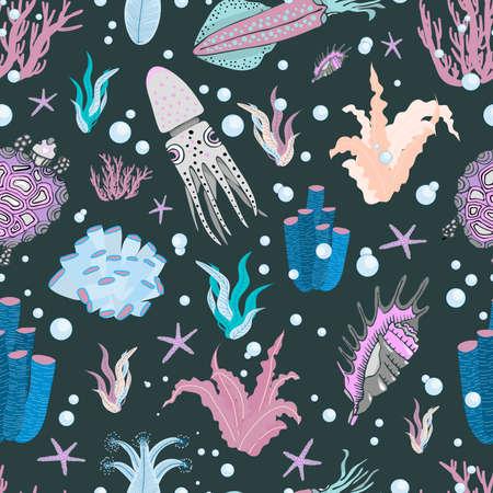 Algae oceanic pattern. Floral summer pattern. Summer design