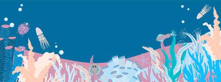 Algae oceanic drawing. Floral summer background. Summer banner horizontal design.