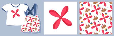 Carlson pattern. Children's toys. Set for textile design and packaging design. propeller vector illustration.