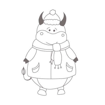 Year of the bull. Ox coloring page. Children's illustration bull or ox. Ilustrace