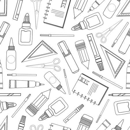 Seamless pattern school supplies. Stationery on a white background. Ruler, pencil, markers and felt-tip pens.