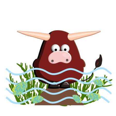 Year of the calf. Cute ox isolated on a white background.